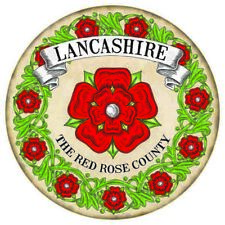 Lancashire The Red Rose County English Round Metal/Steel Wall Sign