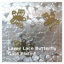 Butterfly Charm 48 Lazer Cut Gold Plated 11mm Earring  Findings