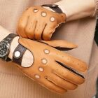 Men's Two-Tone Unlined Leather Driving Gloves in Tan and Brown FREE SHIPPING