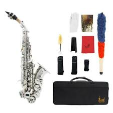LADE Brass Silver Carve Pattern Bb Bend Althorn Soprano Saxophone Sax G6G3