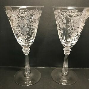 2 Fostoria Glass Romance Etched Goblet Wine Water