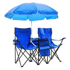 Portable 2-Seat Folding Chair Picnic Camping with Removable Sun Umbrella Outdoor