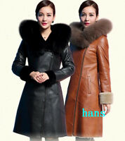 Womens real leather winter fur collar coat hooded Trench jacket warm overcoat sz