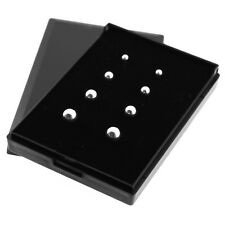 Solid 925 Sterling Silver Ball Stud Earrings with Gift Box Set of 4 - 3mm to 6mm