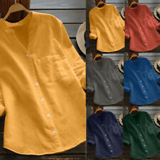 Womens Lady Cotton linen Casual Solid Long Sleeve Shirt Blouse Button Down Tops