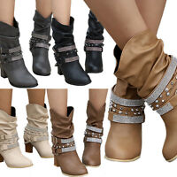 Womens High Block Heel Buckle Rivet Punk Slouch Boots Lady Mid Calf Chunky Shoes