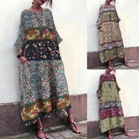 ZANZEA Women Batwing Sleeve Long Shirt Dress Floral Print Kaftan Midi Dress Plus