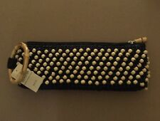 COLDWATER CREEK BAMBOO BEADED CLUTCH  PURSE BLACK WITH TAGS