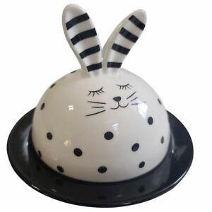 "Rabbit Covered 7"" Dish Plate Polka Dot Black & White Bunny Ceramic Serving Party"