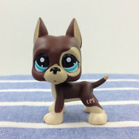 Rare Littlest Pet Shop LPS#1519 Brown Great Dane Dog Dot Blue Eyes Kids Toys