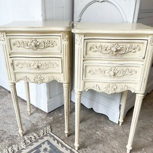 French Cream Bedside Tables Pair 2 Drawers / Storage