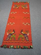"""Vintage Red Wool Hand Woven In Mexico Runner Rug with Peacocks 29"""" X 74"""""""