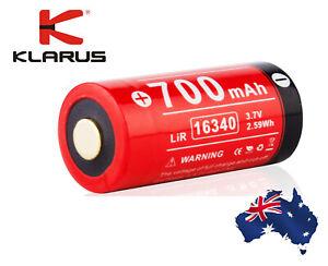 KLARUS Genuine 16340 CR123 Rechargeable Li-ion battery 3.7v 700mah Au Stock/Wtty