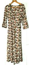 Laura Ashley Size 14 Abstract Print 3/4 Sleeved Wrap Jersey Dress SUPERB