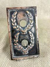Antique Light Switch Plate 19th C Double Bronze 2 Push Button Ornate Victorian