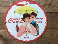 """Vintage Coca Cola Heavy Porcelain Sign 12"""" Soda Cola Sign Coca Cola"""