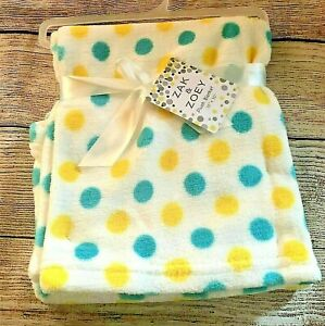 """Zak and Zoey Soft & Snuggly Baby Blanket Turquoise Teal Yellow white 30"""" x 30"""""""