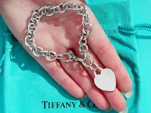 Tiffany & Co Sterling Silver Plain Heart Tag Charm Chain Bracelet 7.5 Inch