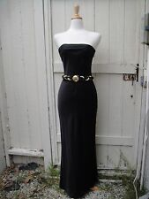 Black Cocktail Formal Evening Dress 100% Silk Sexy Long Gown Tahari 8 S/M