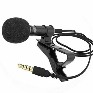 Microphone for Mobile Phone 3.5mm Clip Tie Collar Speaking in Lecture 1.5m