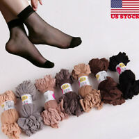 10 Pairs Women Nylon Elastic Short Ankle Sheer Stockings Silk Short Socks USA