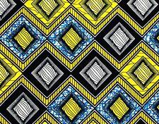 African Fabric 1/2 Yard Cotton Wax Print BLUE YELLOW BLACK Abstract Geometric