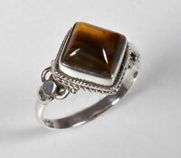 925 Solid Sterling Silver Ring Natural Tiger Eye Gemstone US Size 4 5 6 7 8 R66