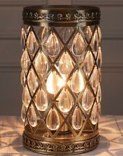 Vintage Moroccan Style Antique Brass Metal Jewel Droplet Table Side Lamp NEW