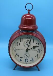 Clock (alarm clock style), free standing (Newgate, London), Maroon
