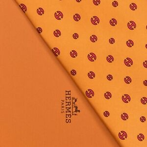 NEW IN BOX HERMES TIE ~ BRIGHT ORANGE w FUCHSIA PINK CURVED MODERN H LINKS XL