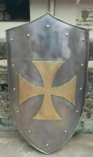 "Knight Templar Brass Cross Shield 30"" 18Gauge Battle Armor Heater Shield Replica"