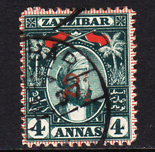 ZANZIBAR 1897 2½ ON 4a MYRTLE-GREEN SURCHARGE T 4 SG 176 FINE USED.