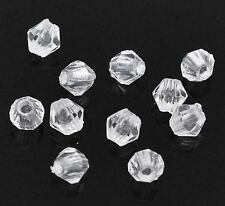 1000 Clear Transparent Acrylic Faceted  Bicone Beads 4X4mm Spacer Beads
