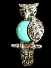 Sterling Silver Turquoise Marcasite Wise Old Owl Bird Brooch Pin Vintage look