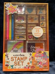 Just My Style Wooden Stamp Set, Includes 15 Premium Stamps Brand NEW Sealed