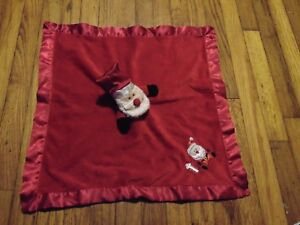 BLANKETS & BEYOND Holiday  SANTA CLAUS Security Blanket LOVEY Satin Trim