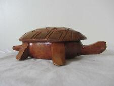 """Carved Wooden Lidden Turtle Trinket Box 6.5"""" L"""