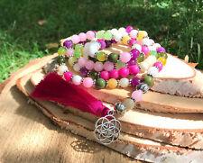 Mala Kette 108 Perlen Lotus Lebensblume Quaste Jade Achat Pink Gebetskette