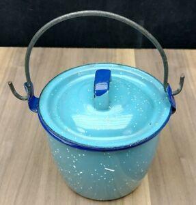 Vintage White Enamel Berry Bucket