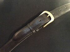 """vintage thick black leather trouser/ jeans 1"""" wide belt brass buckle - 34-38"""" W"""