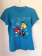 Girls Angry Birds Blue T Shirt Be Happy Small size 7 100% Cotton Novelty/Cartoon
