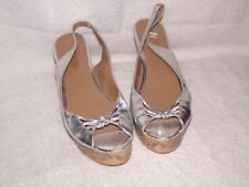 Moda Spana Solid Silver Shiny Open Toe Wedge High Heel Shoes 10M 10 M Trista
