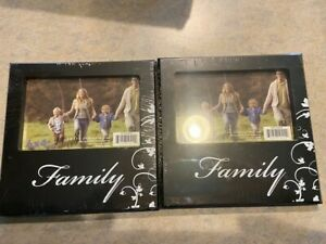 """Picture frames New in Box  """"Family"""" Black 4X6in  2 Picture Frames"""