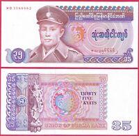 Myanmar // Burma Mythical Dancer 35 Kyat ND P-63 1986 aUNC /> General San