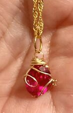 """3.75 CT's GENUINE BURMA BLOOD RED RUBY 14k Gold Wire Wrapped Necklace 22"""" Chain"""