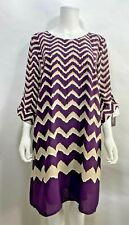 NEW Luxology Dress Purple Tan Print Roll Tab Sleeve Women's 14 NWT