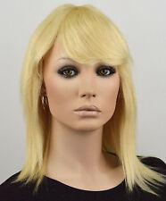 ECHTHAAR DAMEN PERÜCKE platinblond Echthaarperücke Chemo wig Damenperücke E12