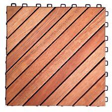 "VIFAH V182 Interlocking FSC Eucalyptus Deck Tile, 12-Slat/10-Pack 11"" x 11"" New"