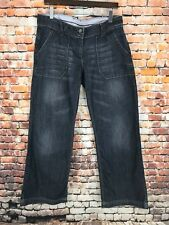 FAT FACE DARK BLUE WIDE LEG/FLARED,'RELAXED PITCH' JEANS/TROUSERS SIZE 12 L32