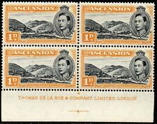 More details for 1940 ascention sg 39a 1d black and yellow-orange unmounted mint block of 4